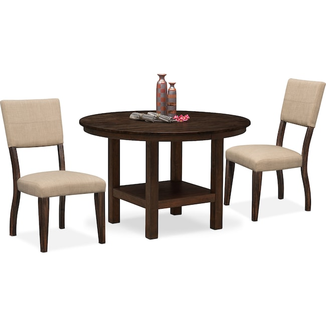 Dining Room Furniture - Tribeca Round Dining Table and 2 Upholstered Side Chairs - Tobacco