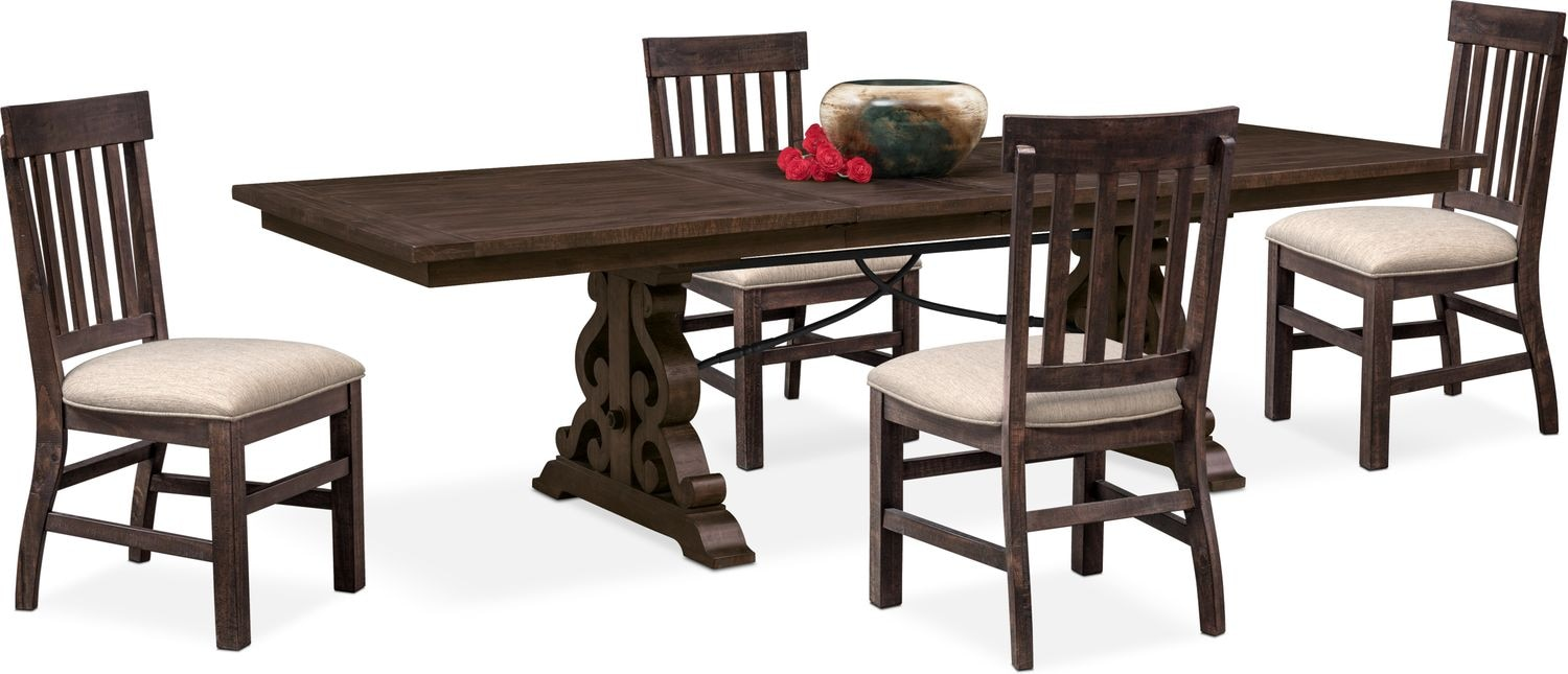 Charthouse Rectangular Dining Table And 4 Side Chairs   Charcoal