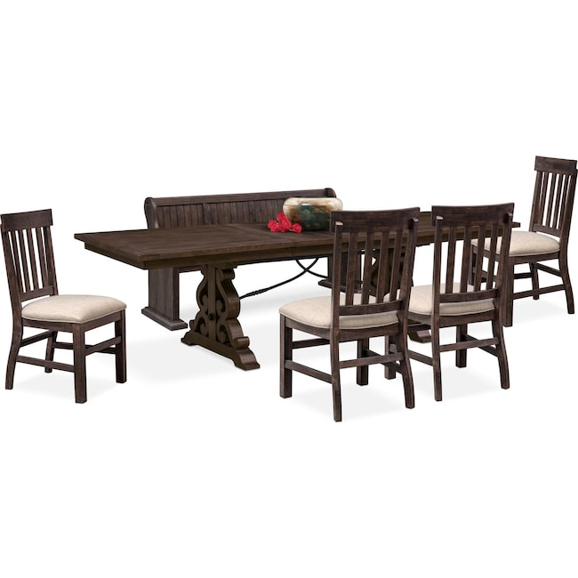 Dining Room Furniture - Charthouse Rectangular Dining Table, 4 Side Chairs and Bench - Charcoal