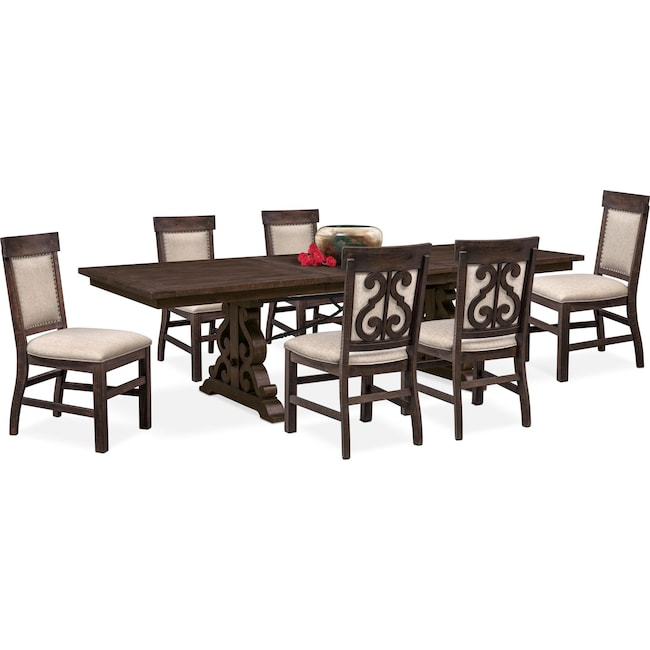 Dining Room Furniture - Charthouse Rectangular Dining Table and 6 Upholstered Side Chairs - Charcoal