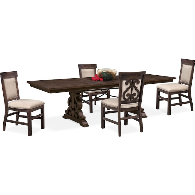 Dining Room Furniture - Charthouse Rectangular Dining Table and 4 Upholstered Side Chairs - Charcoal