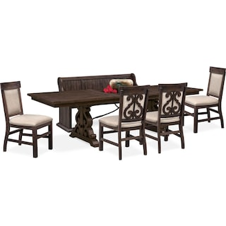 Charthouse Rectangular Dining Table, 4 Upholstered Side Chairs and Bench