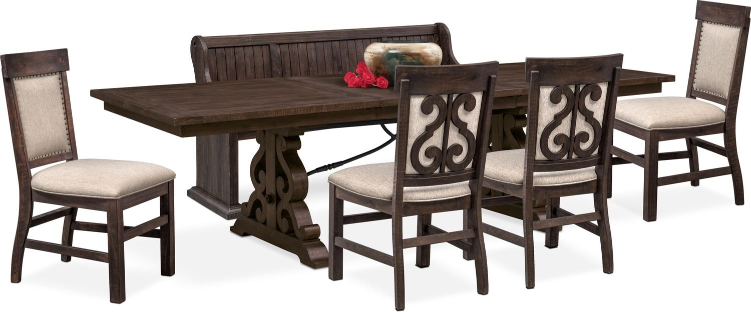 Delicieux Dining Room Furniture   Charthouse Rectangular Dining Table, 4 Upholstered  Side Chairs And Bench