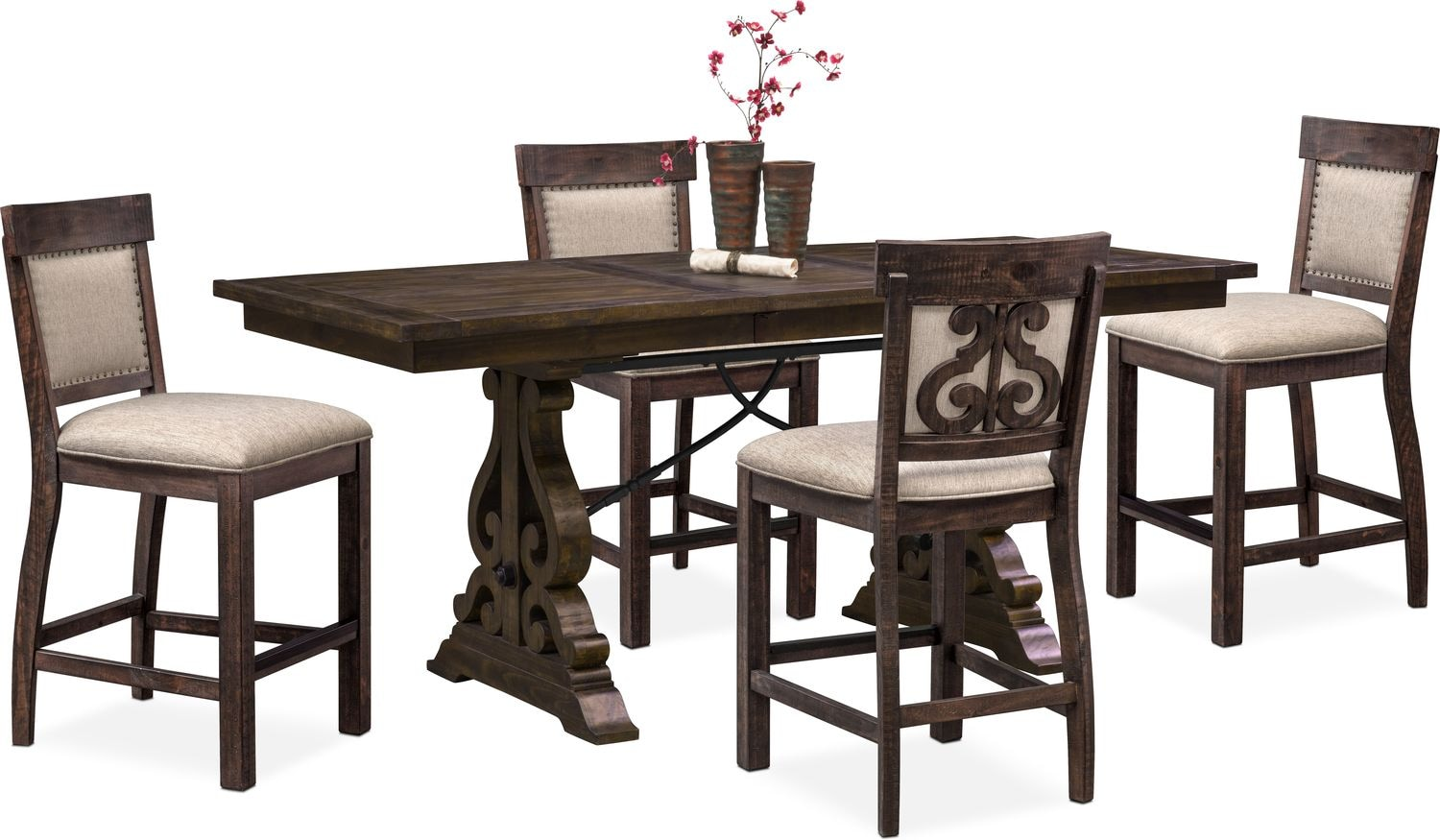Charthouse CounterHeight Dining Table And Upholstered Stools - Counter height dining table with stools