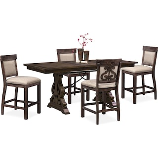 Charthouse Counter-Height Dining Table and 4 Upholstered Stools