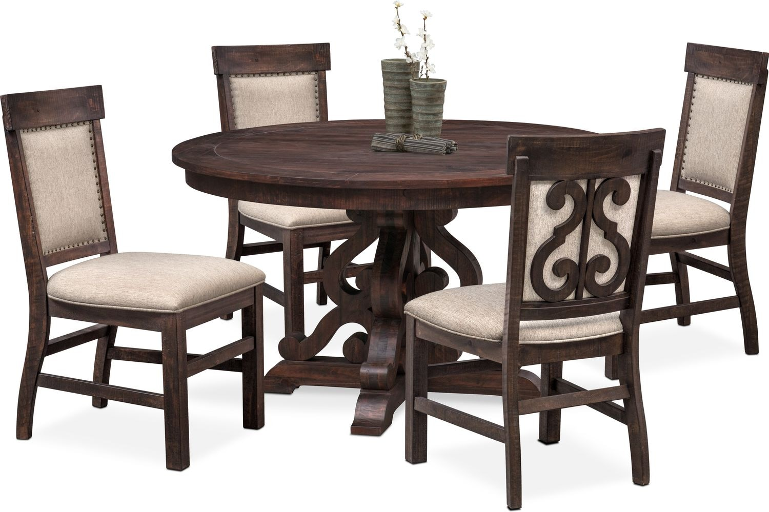 7dcefe95298ef ... Dining Room Furniture - Charthouse Round Dining Table and 4 Upholstered  Side Chairs