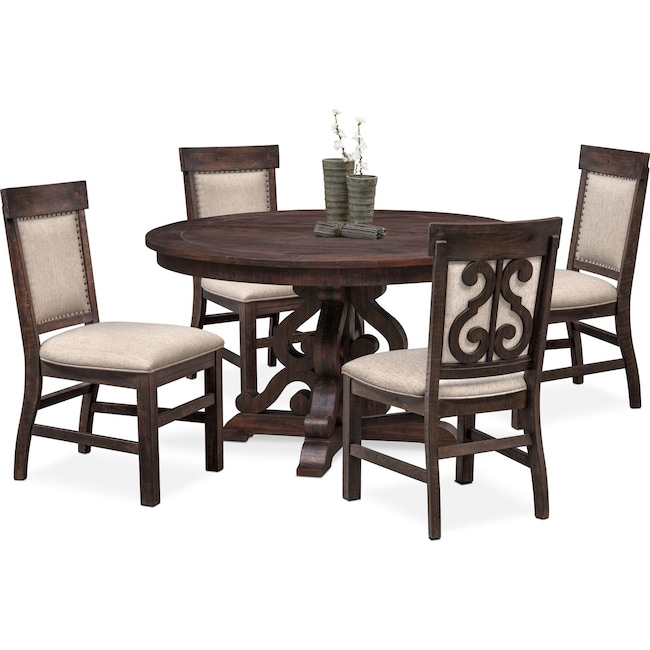 Dining Room Furniture - Charthouse Round Dining Table and 4 Upholstered Side Chairs - Charcoal