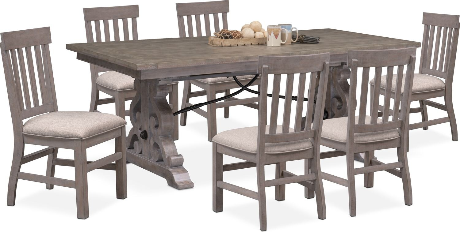 Charthouse Rectangular Dining Table And 6 Side Chairs   Gray