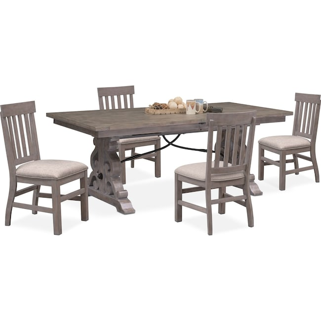 Dining Room Furniture - Charthouse Rectangular Dining Table and 4 Side Chairs - Gray