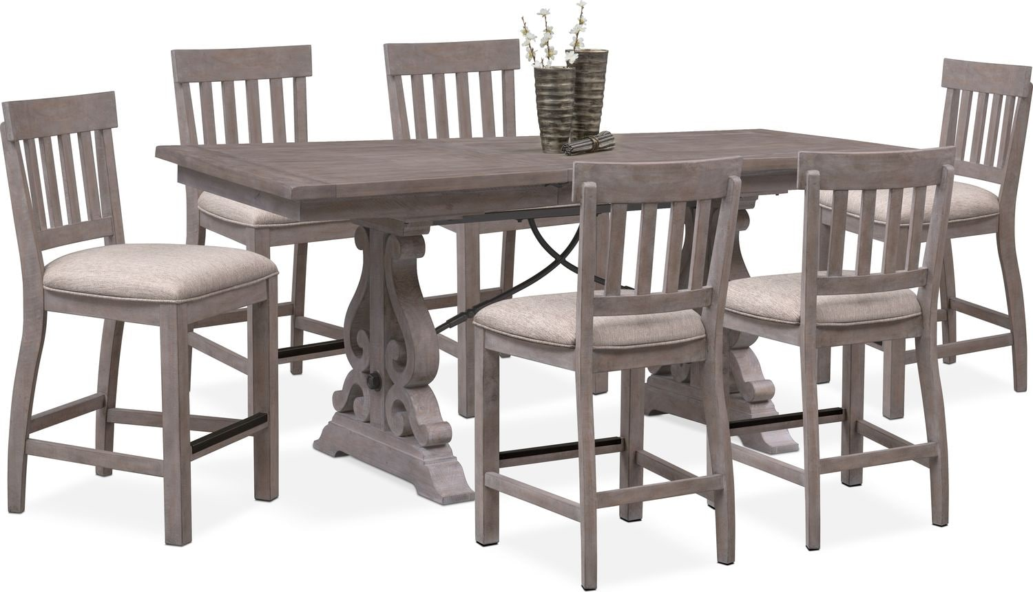 Charthouse Counter Height Dining Table And 6 Stools   Gray