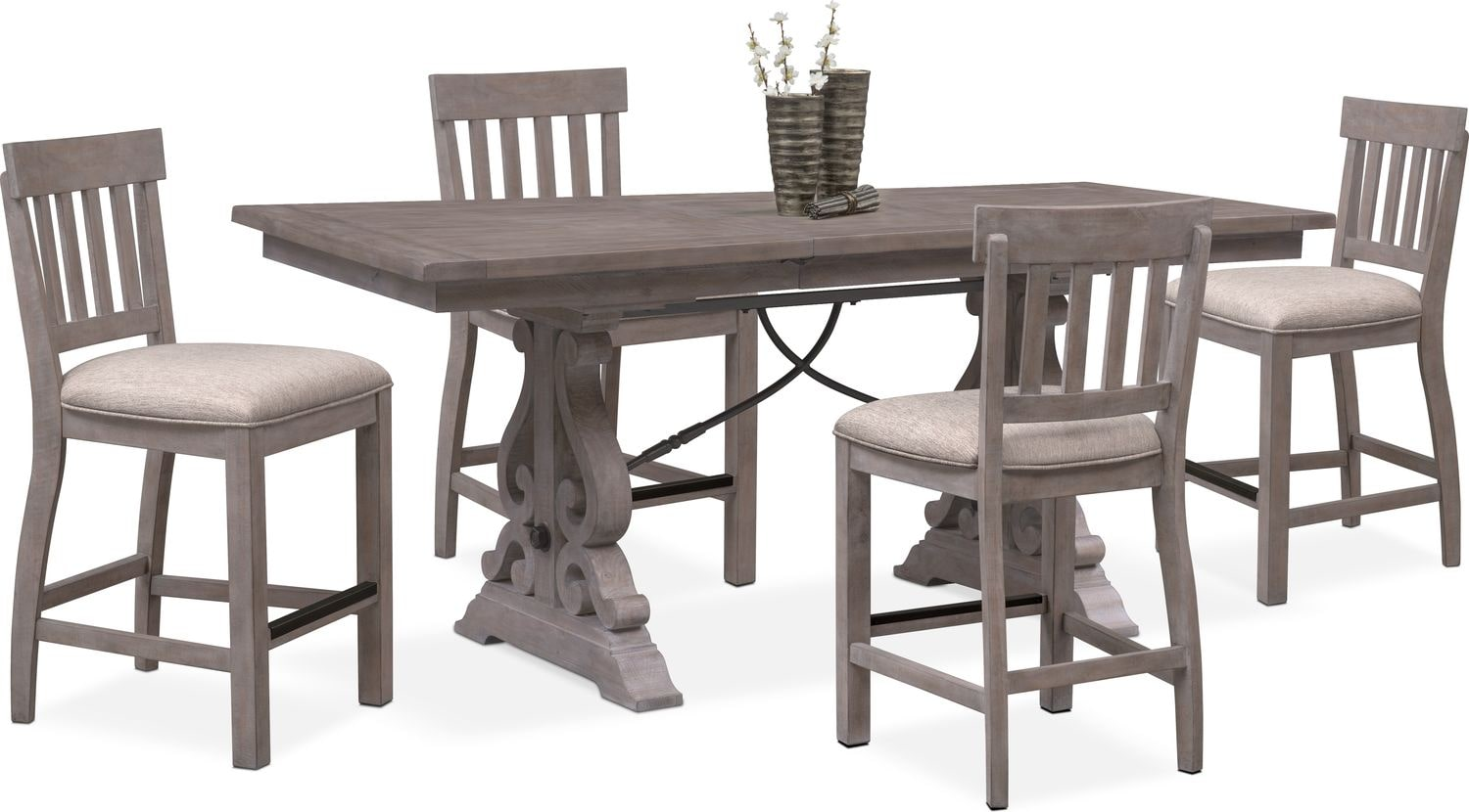 Charthouse Counter Height Dining Table And 4 Stools   Gray