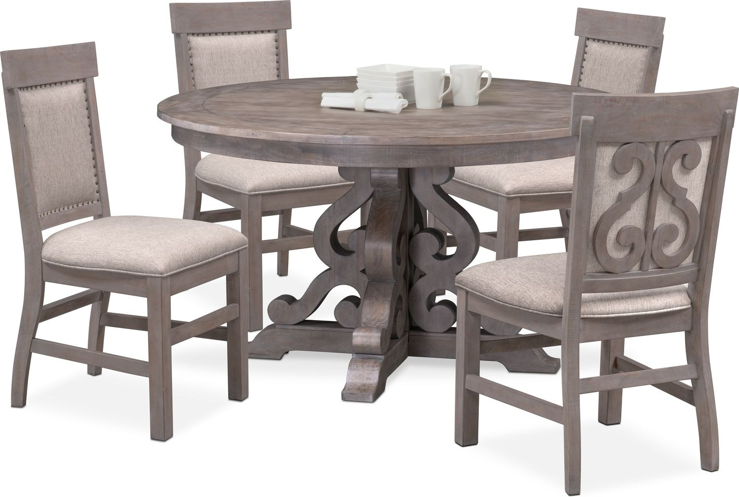 e255bcee34 ... Dining Room Furniture - Charthouse Round Dining Table and 4 Upholstered  Side Chairs