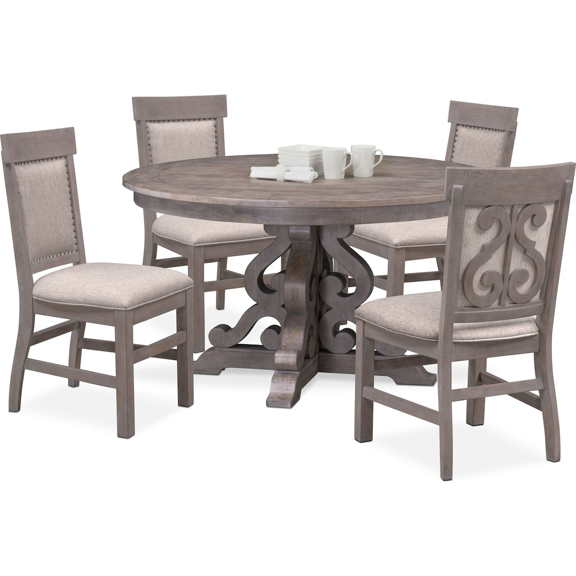 City Furniture Dining Room: Charthouse Round Dining Table And 4 Upholstered Side
