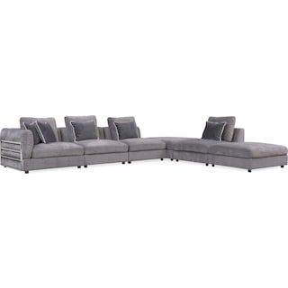 Lavo 6-Piece Sectional with Left-Facing Chair - Gunmetal