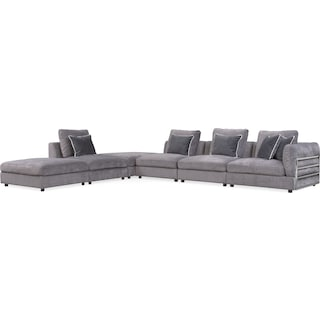 Lavo 6-Piece Sectional with Right-Facing Chair - Gunmetal