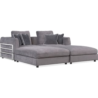 Lavo 4-Piece Sectional with 2 Rectangular Ottomans - Gunmetal