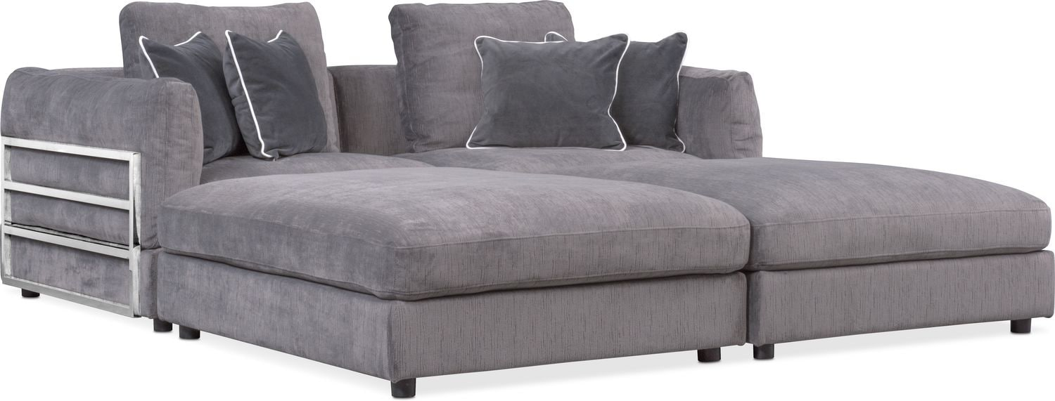 Lavo 4 Piece Sectional With 2 Rectangular Ottomans   Gunmetal