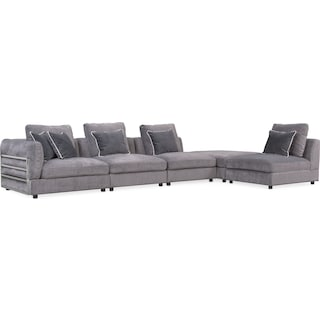 Lavo 5-Piece Sectional with Left-Facing Chair - Gunmetal