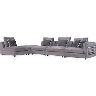 Lavo 5-Piece Sectional with Right-Facing Chair - Gunmetal