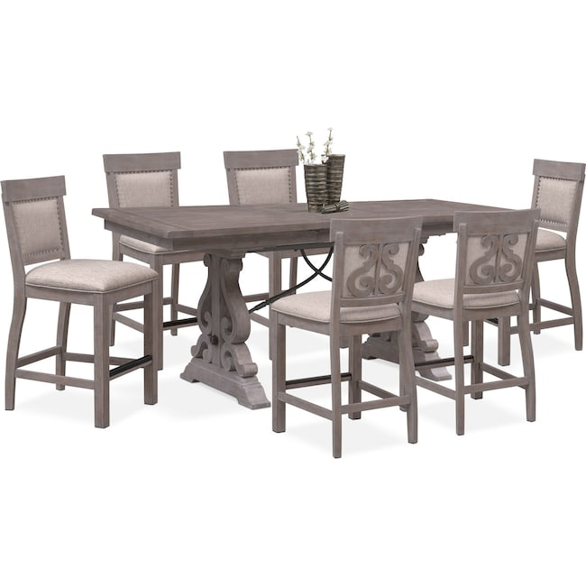 Dining Room Furniture - Charthouse Counter-Height Dining Table and 6 Upholstered Stools - Gray