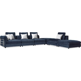Lavo 6-Piece Sectional with Left-Facing Chair - Ink