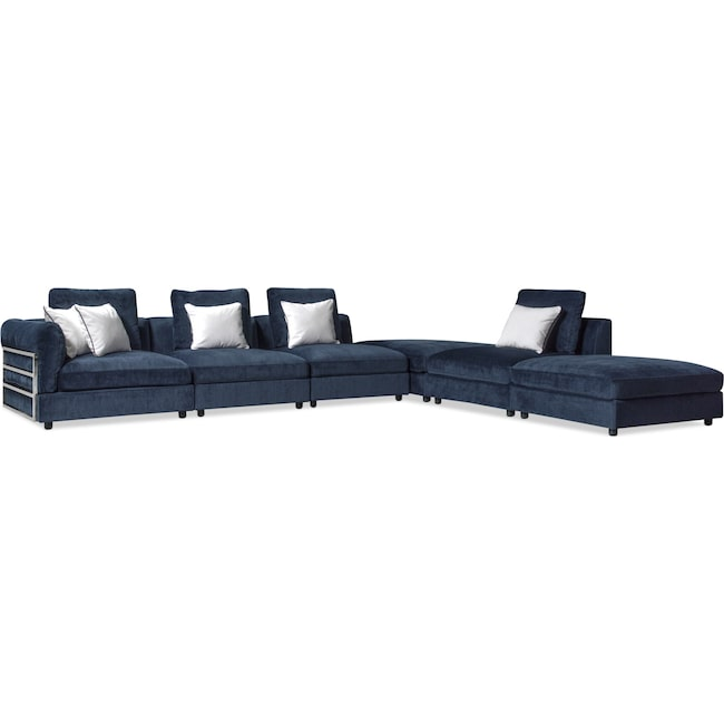 Living Room Furniture - Lavo 6-Piece Sectional with Left-Facing Chair - Ink