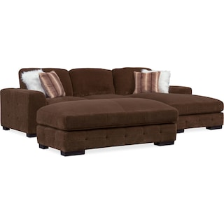 Terry 2-Piece Sectional with Right-Facing Chaise and Cocktail Ottoman Set - Chocolate