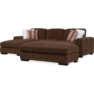 Terry 2-Piece Sectional with Left-Facing Chaise and Cocktail Ottoman Set - Chocolate