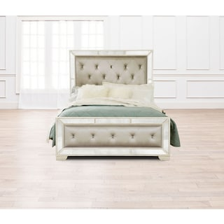 Angelina Queen Upholstered Bed - Metallic