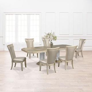 Angelina Double-Pedestal Table and 6 Side Chairs - Metallic