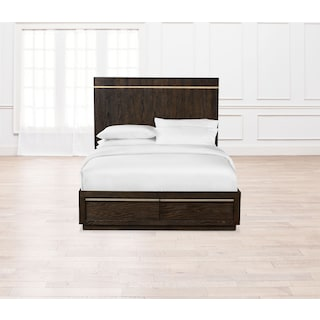 Gavin Queen Storage Bed - Brownstone