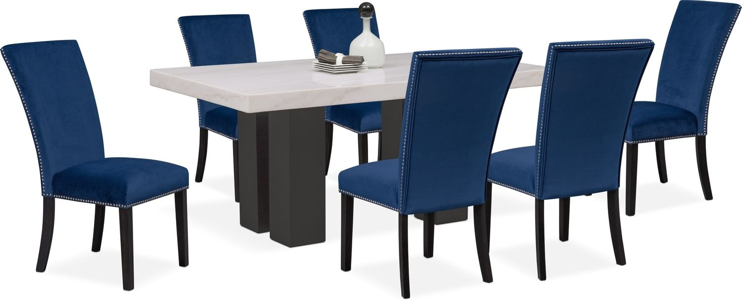 Artemis dining table and 6 upholstered side chairs blue