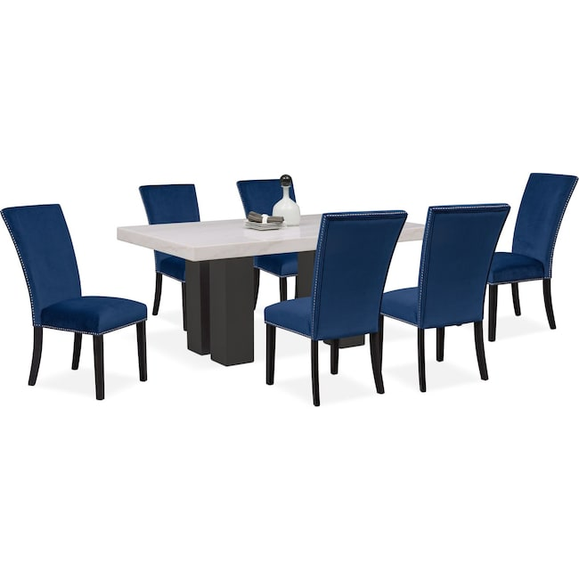Dining Room Furniture Artemis Table And 6 Upholstered Side Chairs Blue