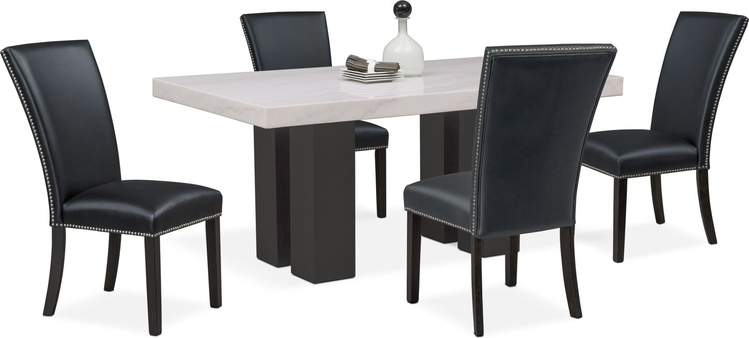 Artemis Dining Table And 4 Upholstered Side Chairs   Black