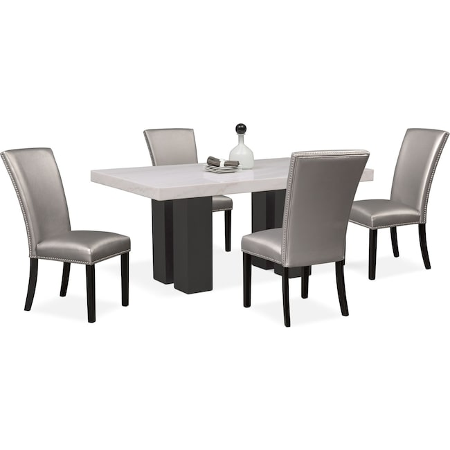 Dining Room Furniture - Artemis Dining Table and 4 Upholstered Side Chairs
