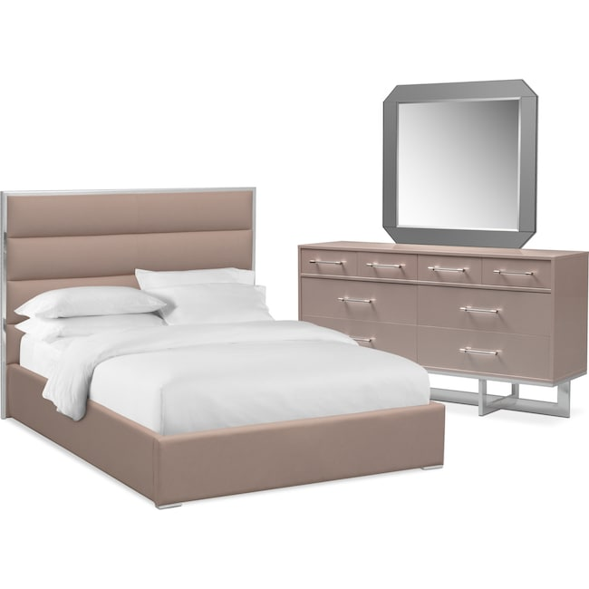 Bedroom Furniture - Concerto 5-Piece Bedroom Set with Dresser and Mirror