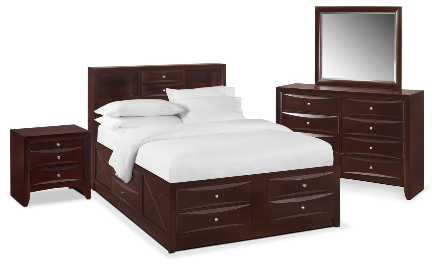 Bedroom Furniture - Braden 6-Piece Bookcase Bedroom Set with Storage, Nightstand, Dresser and Mirror