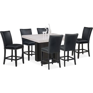 artemis counter height dining table and 6 upholstered stools black