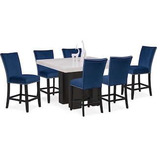 Artemis Counter-Height Marble Dining Table and 6 Upholstered Stools