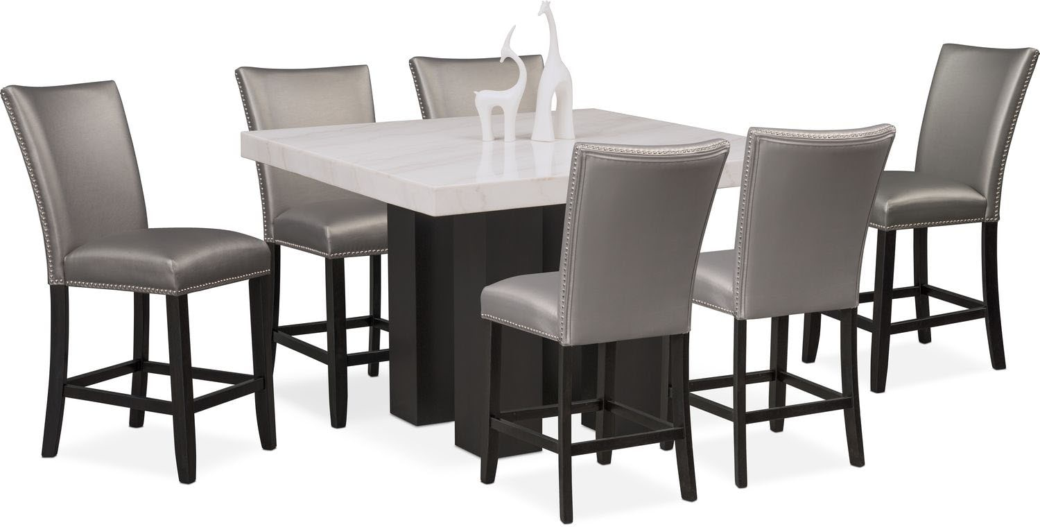 artemis counter height dining table and 6 upholstered stools gray value city furniture and. Black Bedroom Furniture Sets. Home Design Ideas