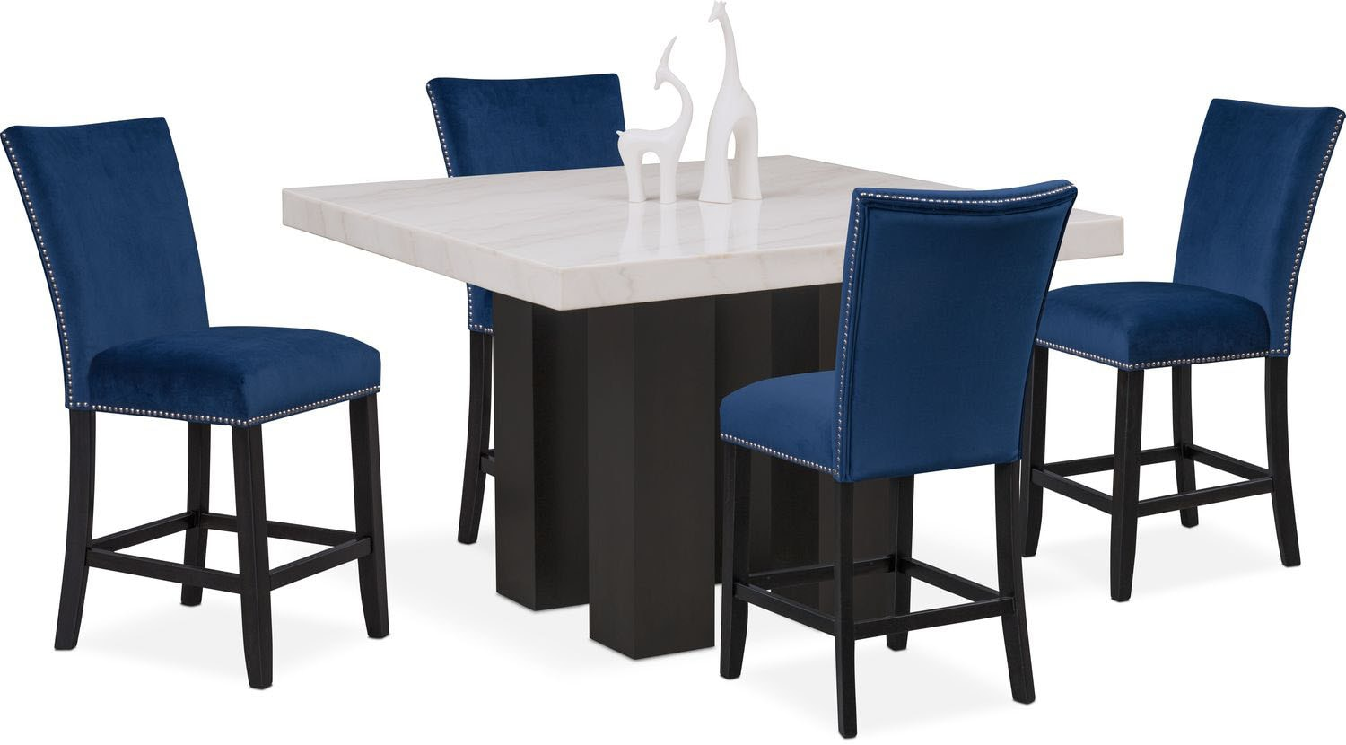 Artemis Counter Height Dining Table And 4 Upholstered Stools   Blue