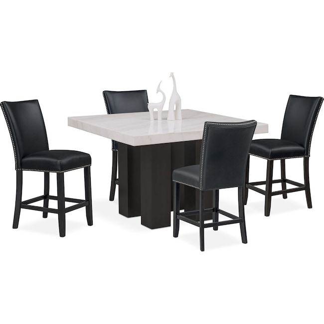 Artemis Counter-Height Dining Table and 4 Upholstered Stools - Black ...