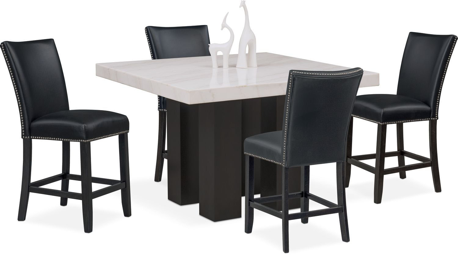 Dining Room Furniture   Artemis Counter Height Dining Table And 4  Upholstered Stools   Black