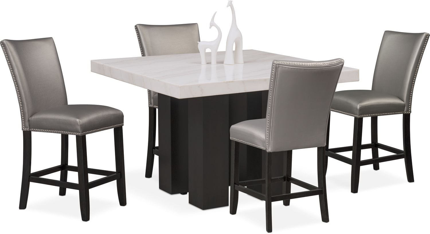 Dining Room Furniture - Artemis Counter-Height Marble Dining Table and 4 Upholstered Stools