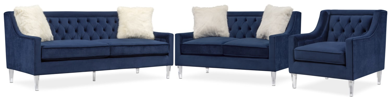 Chloe Sofa Loveseat And Chair Set Blue