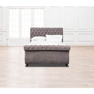 Ella Queen Upholstered Bed - Charcoal