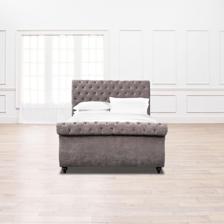 Attractive Ella Queen Upholstered Bed   Charcoal