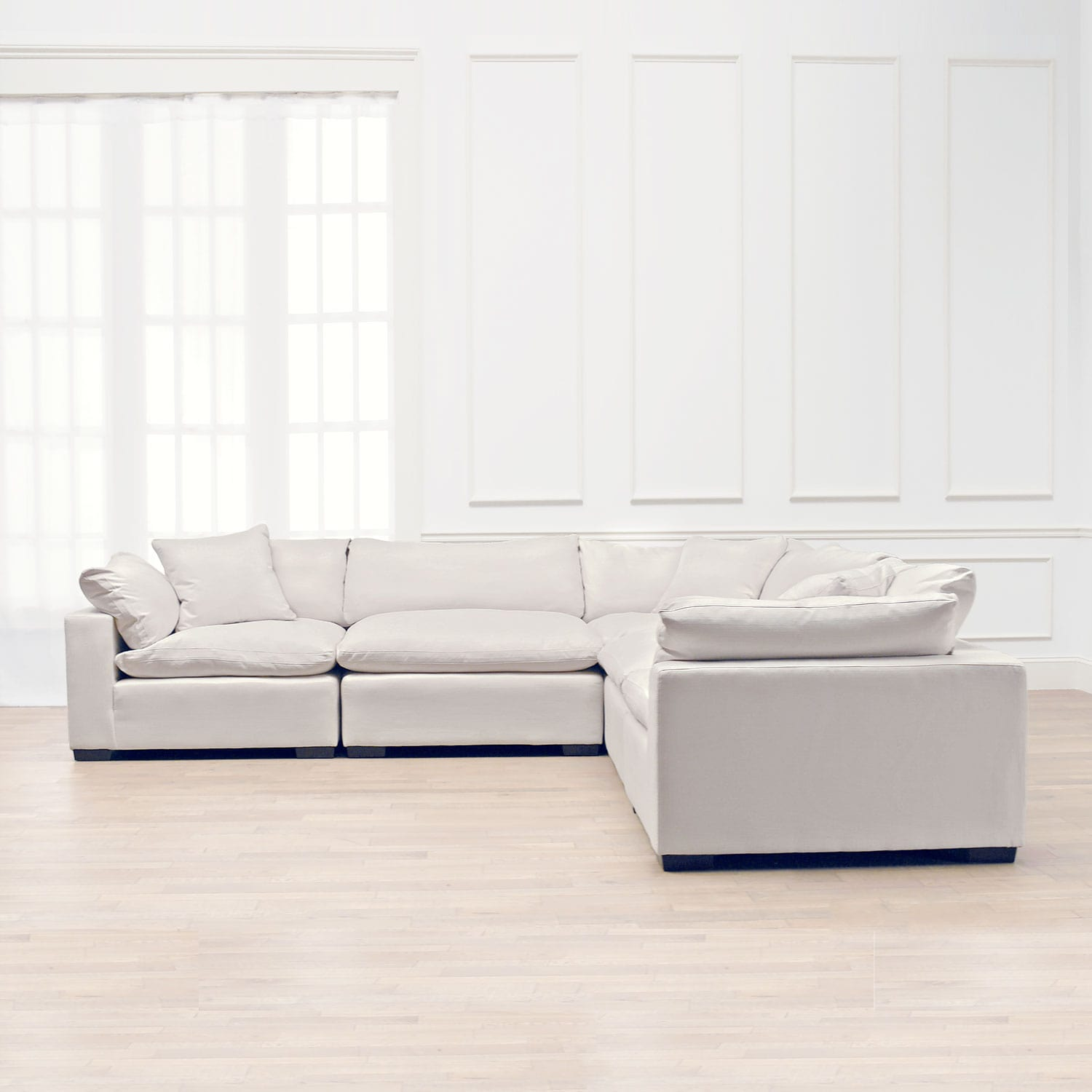 Charmant Plush 5 Piece Sectional   Anders Ivory