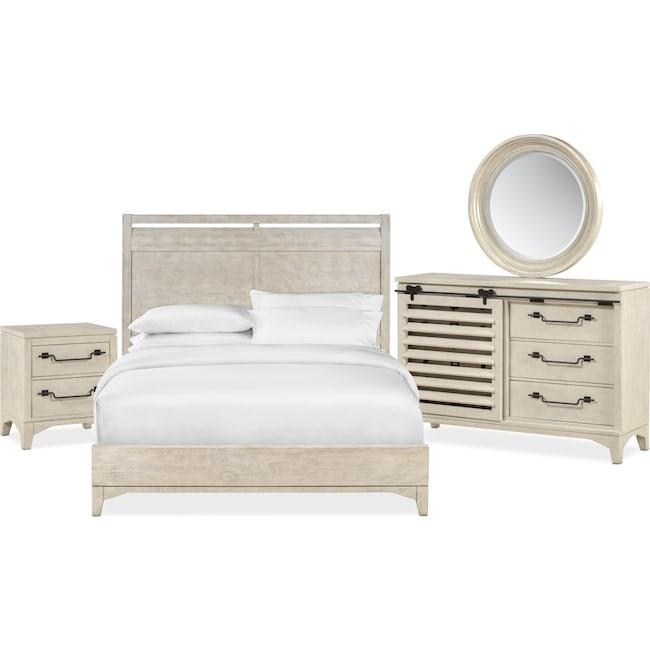 Bedroom Furniture - Gristmill 6-Piece Queen Bedroom Set - Linen
