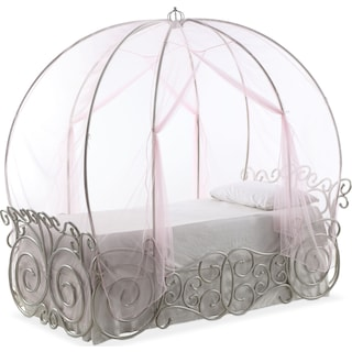 Princess Twin Carriage Bed - Silver